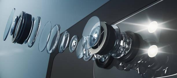 逆アセンブルされたスマート フォンのカメラ、ビジュアル コンセプト - レンズ ストックフォトと画像