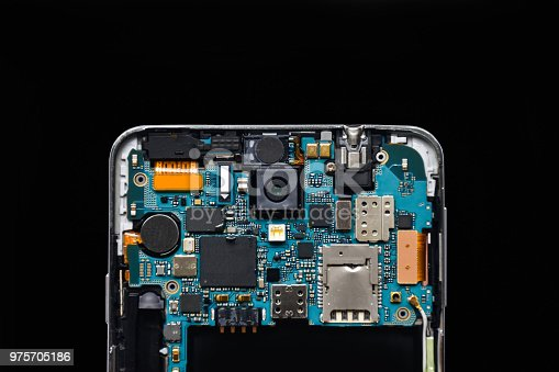 Isolate disassembled smartphone (mobile phone) on black background. Mobile concept (technology)