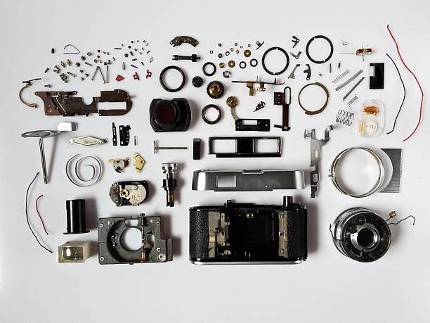 Disassembled vintage camera stock photo
