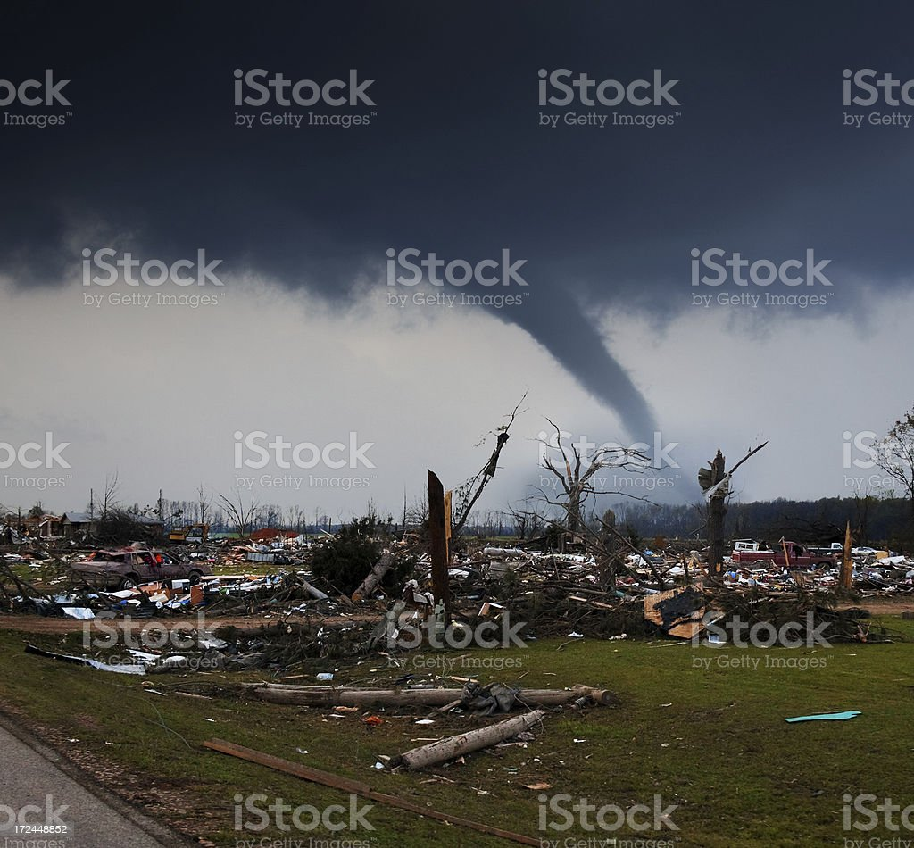 Disaster area with tornado stock photo