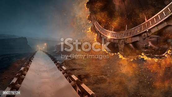 istock Disaster concept on open pit mine at heavy machinery 950276124