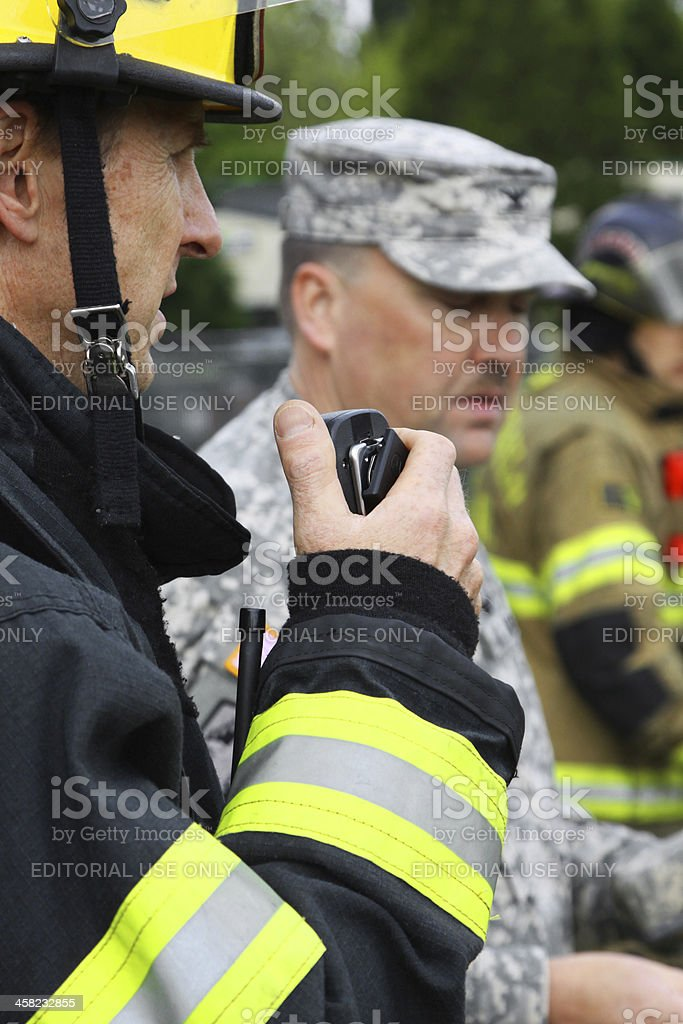 Disaster Drill Communications stock photo