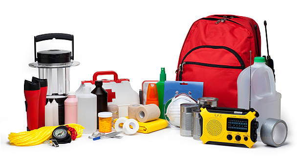 Disaster Emergency Supplies This is a photo of a variety of Emergency Supplies isolated on a white background.Click on the links below to view lightboxes. accidents and disasters stock pictures, royalty-free photos & images
