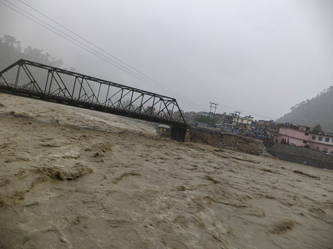 Disaster flood in river Ganges India. The Ganges River has been heavily flooded in 2012 and 2013