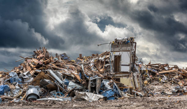 Disaster Urban area ruined by tornadoes or war. destruction stock pictures, royalty-free photos & images
