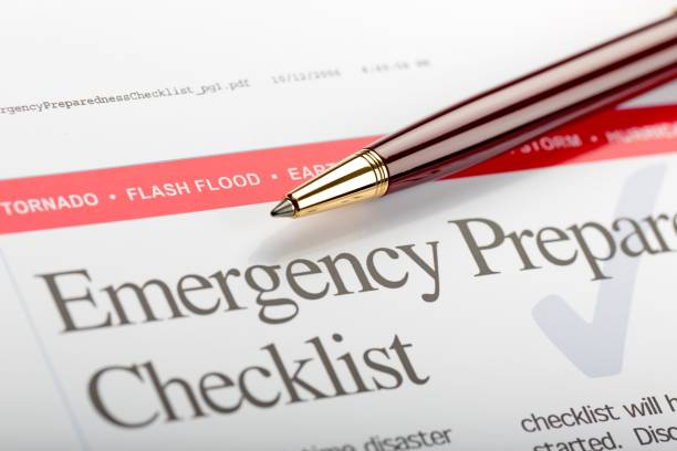 Disaster. Emergency Preparedness Checklist emergency sign stock pictures, royalty-free photos & images