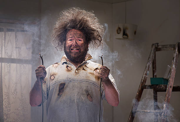 DIY disaster man gets a shock with his home improvements misfortune stock pictures, royalty-free photos & images