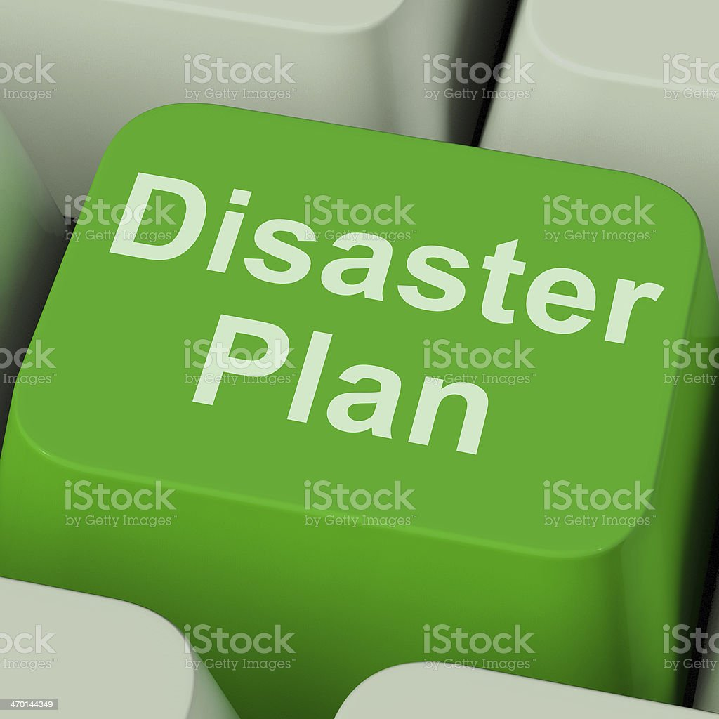 Disaster Plan Key Shows Emergency Crisis Protection stock photo