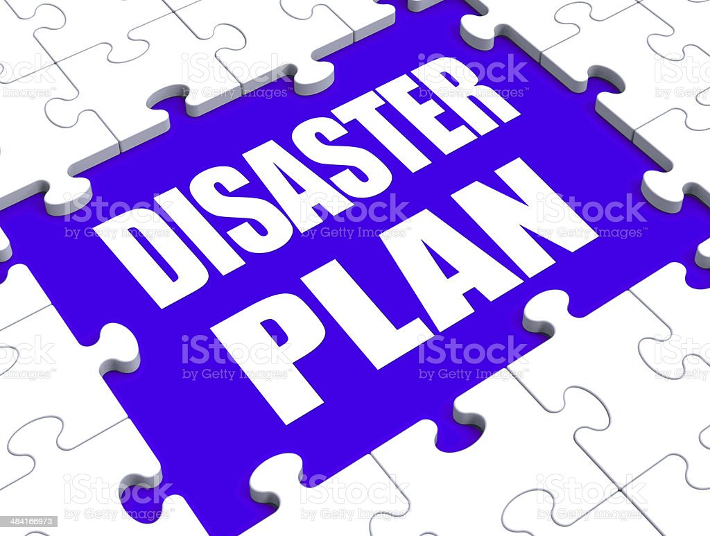 Disaster Plan Puzzle Shows Danger Emergency Crisis Protection stock photo