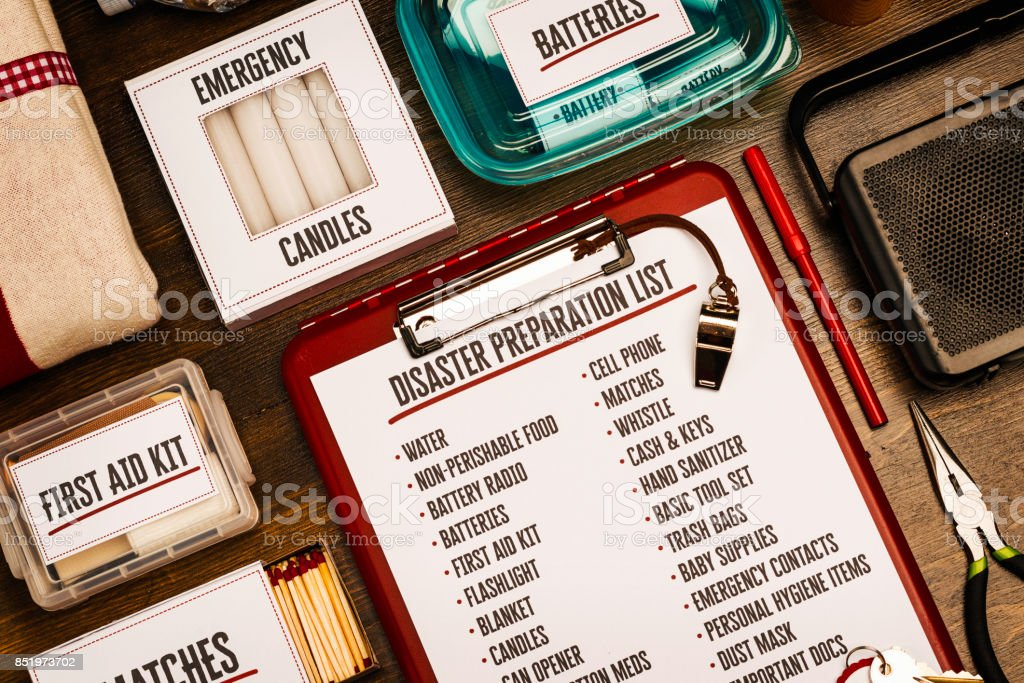 Disaster preparation kit flat lay. Items needed for disaster preparedness stock photo