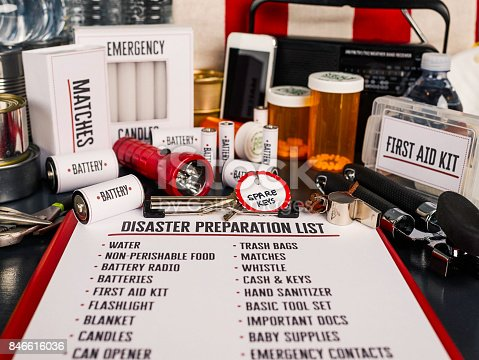 Disaster preparation kit flat lay. Items needed for disaster preparedness