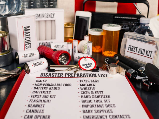 Disaster preparation kit. Items needed for disaster preparedness Disaster preparation kit flat lay. Items needed for disaster preparedness method of preparation stock pictures, royalty-free photos & images