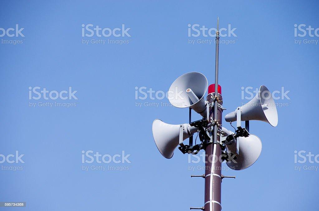Disaster prevention speaker stock photo