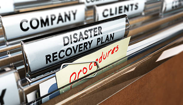 DRP, Disaster Recovery Plan Close up on a file tab with the text Distaster Recovery Plan, focus on the main text and blur effect. Concept image for illustration of DRP ans crisis communication. accidents and disasters stock pictures, royalty-free photos & images