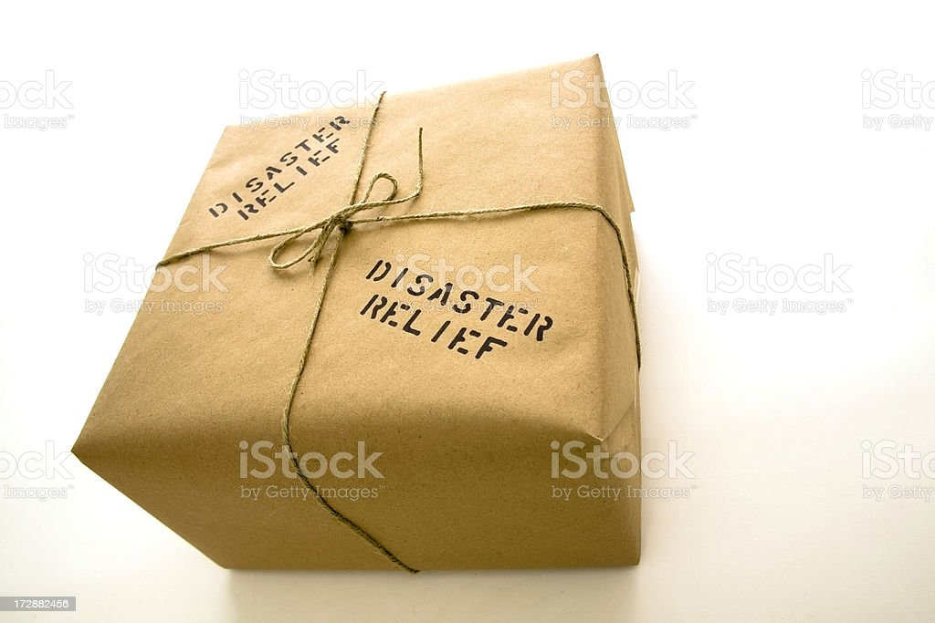 Disaster relief package royalty-free stock photo