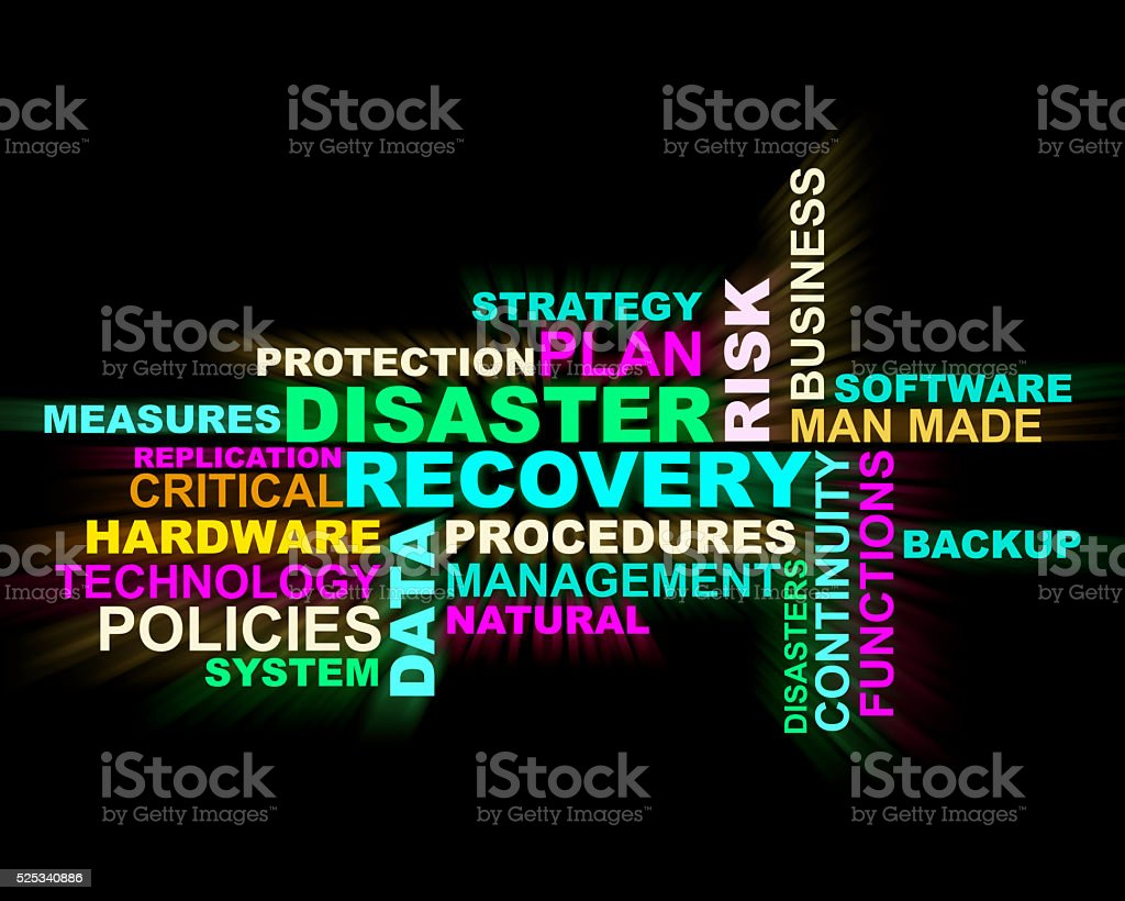 Disaster,recovery,procedures 3d crossword stock photo