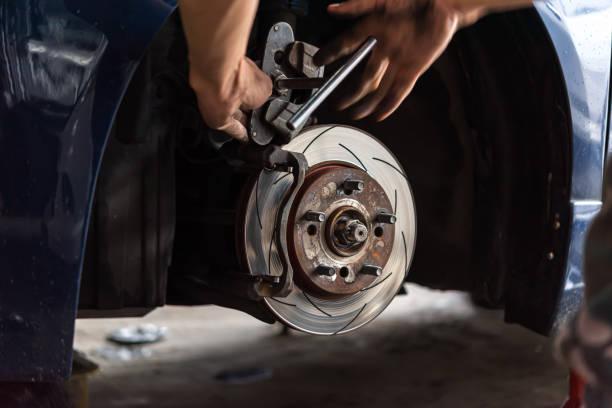 車庫的盤式制動器和石棉制動片 - 剎車制 個照片及圖片檔