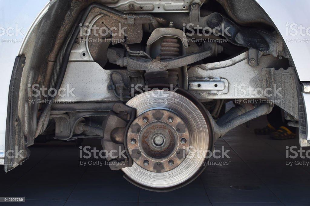 Disc brake on car stock photo