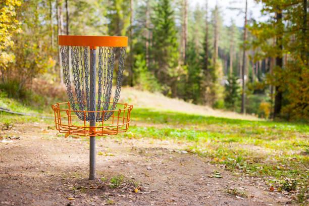Disc Golf (Frolf) Korb auf einem Wald-Kurs im Herbst mit einer geringen Schärfentiefe – Foto
