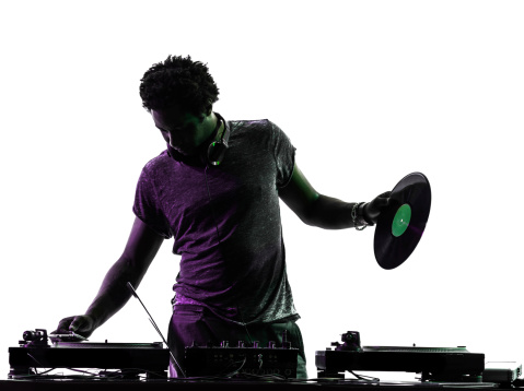 one disc jockey man in silhouette isolated on white background