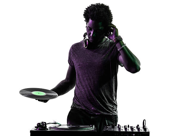 disc jockey man silhouette one disc jockey man in silhouette on white background dj stock pictures, royalty-free photos & images