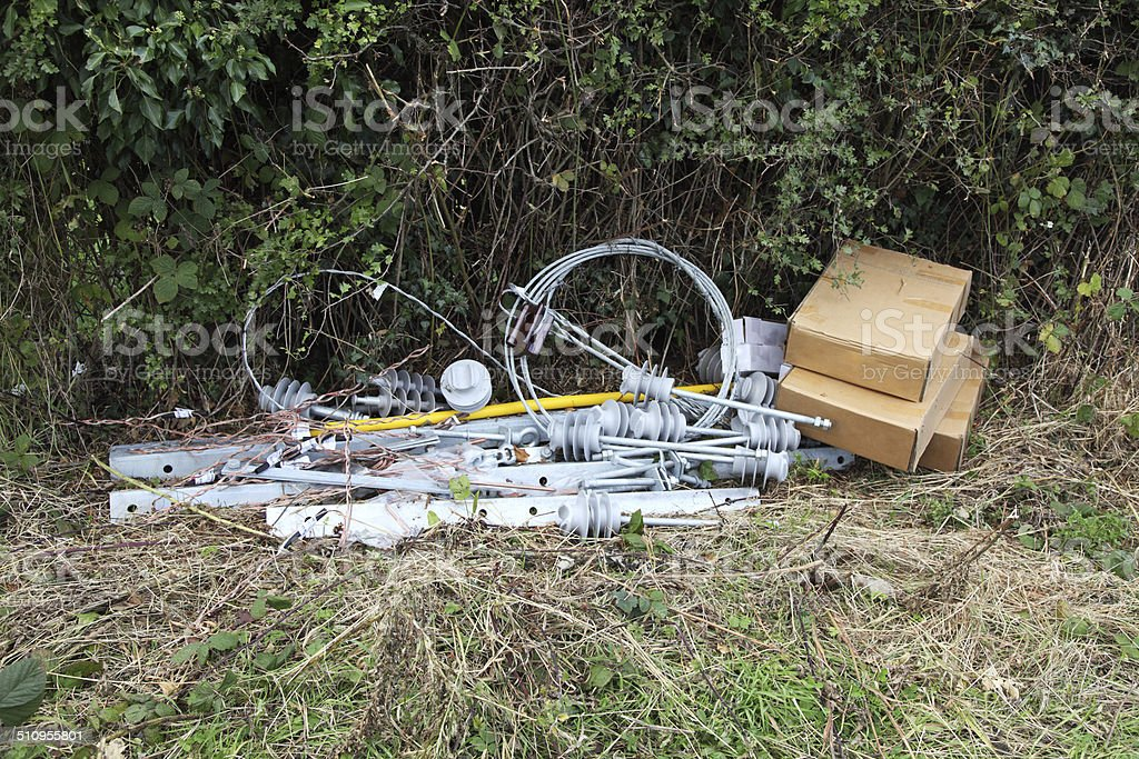 Discarded boxes and equipment stock photo