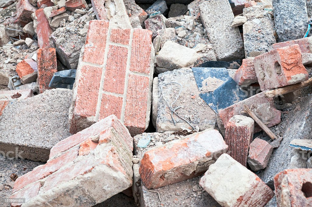 Discarded Building Rubble stock photo