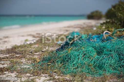 Net found on Maldives island  Beach; which is harmful to marine and coastal life