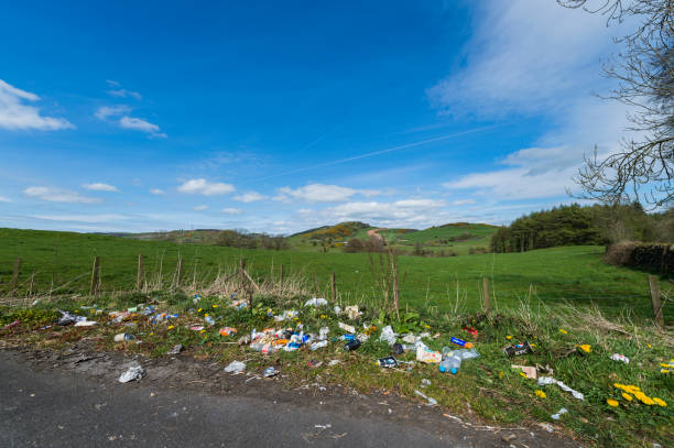Discarded litter at the side of a rural road in Scotland stock photo
