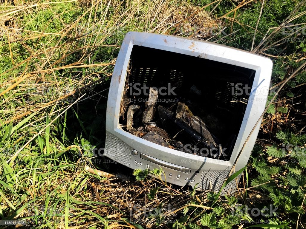 An old and out of date computer monitor or portable TV that has been...