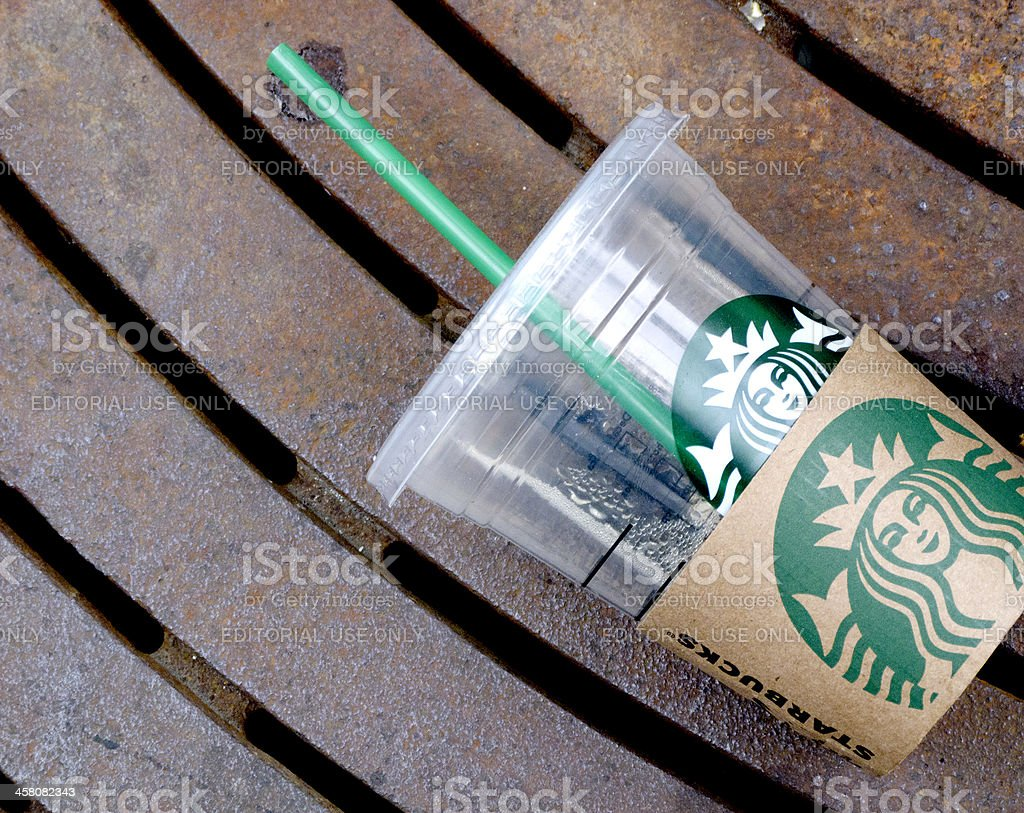 Discarded Starbucks Cup stock photo