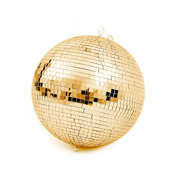 Disco background concepts. Ball disco gold mirror discoball golden glitter white concept - stock image disco ball stock pictures, royalty-free photos & images
