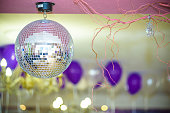 Disco Background with Shiny Retro Disco Ball. Great Background for Disco Party or Small Karaoke Event. Pink Theme