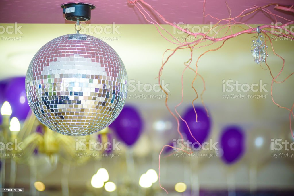 Disco Background with Shiny Retro Disco Ball. Great Background for Disco Party or Small Karaoke Event. Blue Theme stock photo