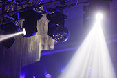 Disco ball and light projectors at night party