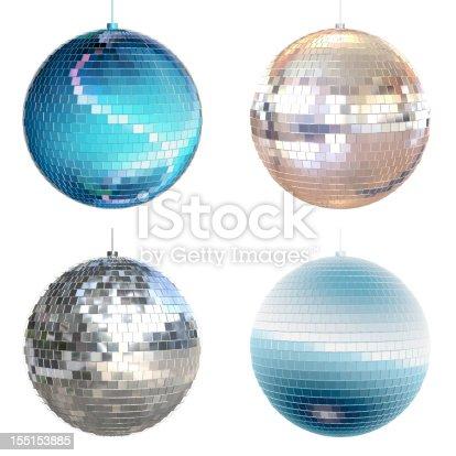 Set of 4 sparkling disco balls on a white background.