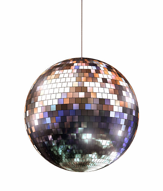 Disco Ball Disco ball with colored reflections - clipping path included disco ball stock pictures, royalty-free photos & images