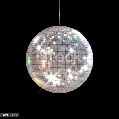 Large disco ball with shinny rays shooting out of the surface on a black background.