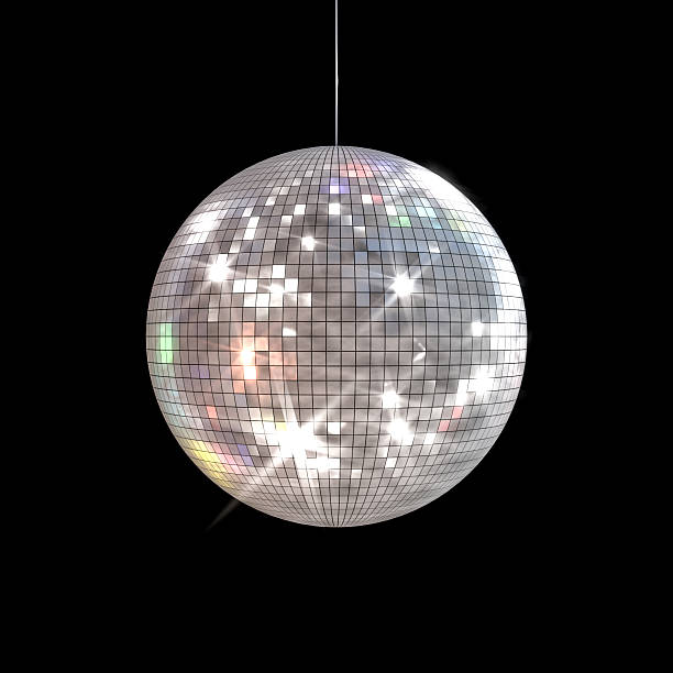 Disco Ball Large disco ball with shinny rays shooting out of the surface on a black background. disco ball stock pictures, royalty-free photos & images