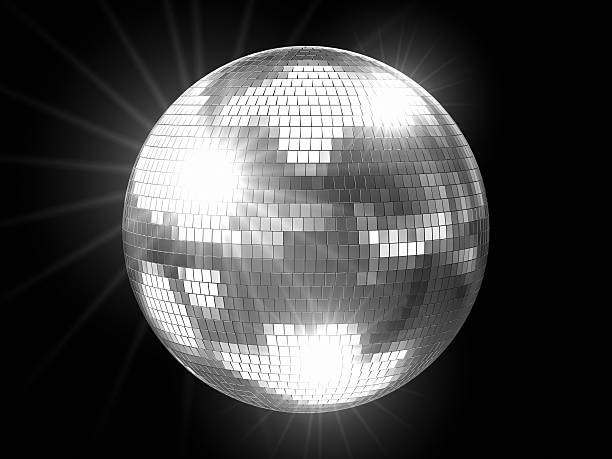 Disco Ball Silver with Flares stock photo