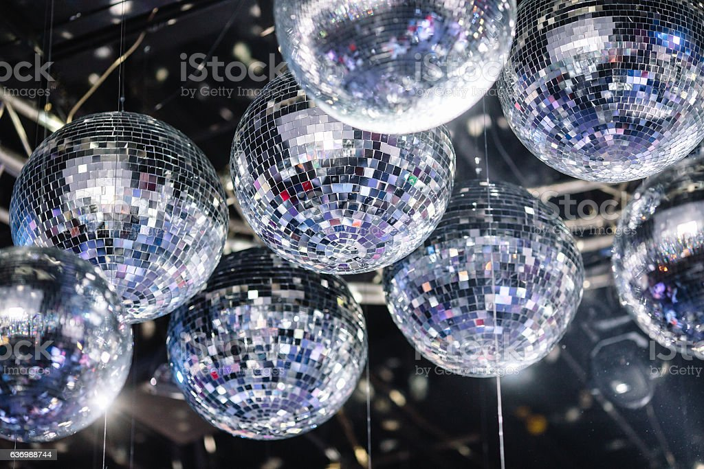 disco balls on the ceiling stock photo