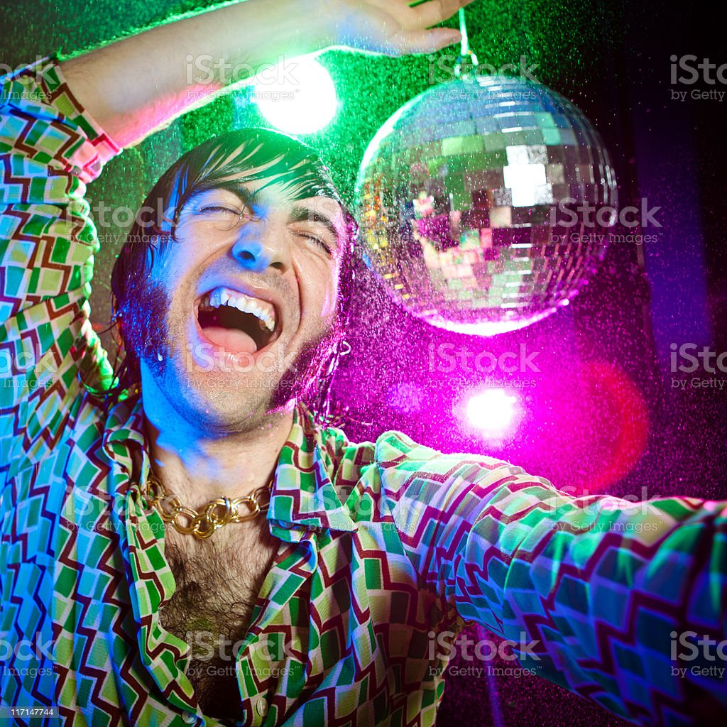 disco dance happy vintage man enjoy party royalty-free stock photo
