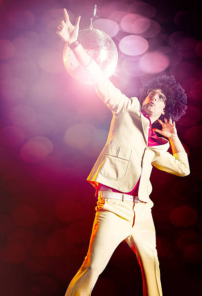 disco dancer with afro - disco dancing stock photos and pictures