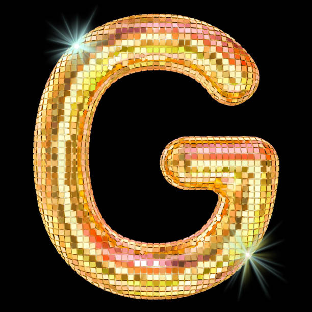 Disco font, letter G from golden glitter mirror facets. 3D rendering isolated on black background stock photo