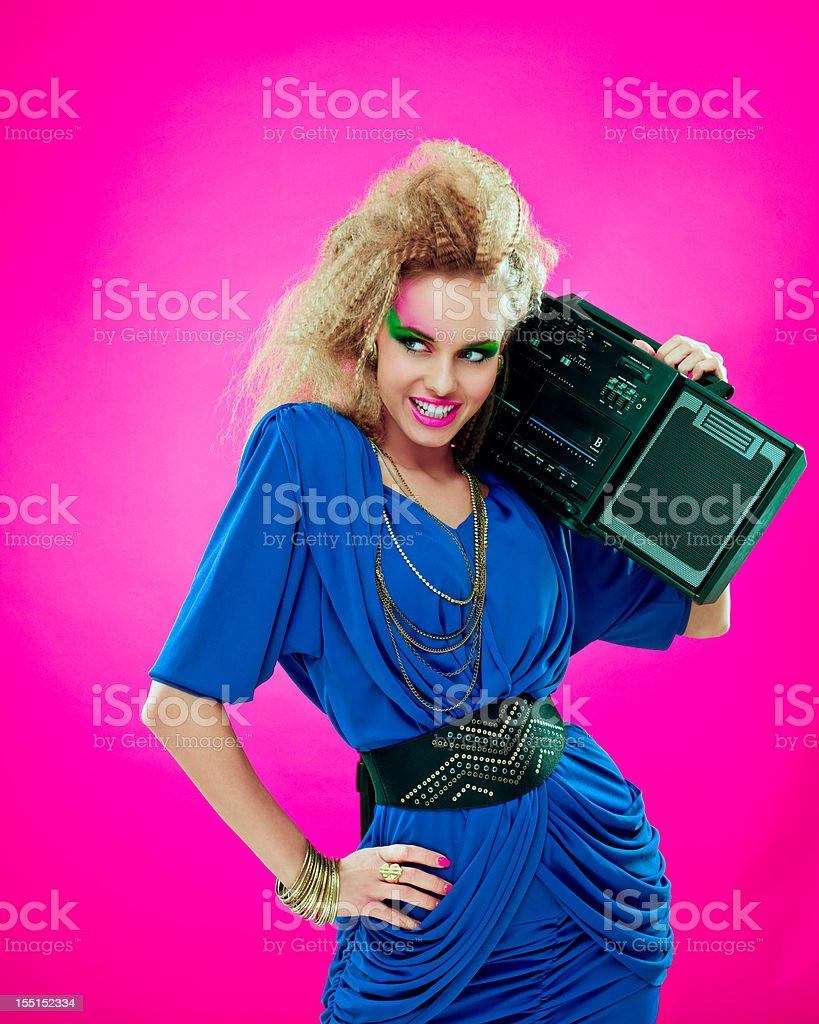 Disco Girl with Boombox stock photo