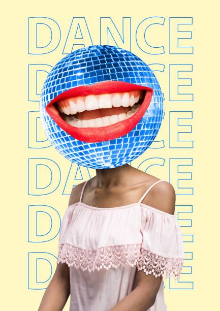 disco-kopf-rund um die uhr musik. tanzstimmung. - flyer inspiration stock-fotos und bilder