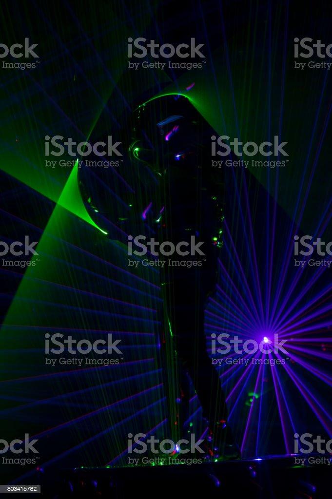 Disco laser dancer stock photo