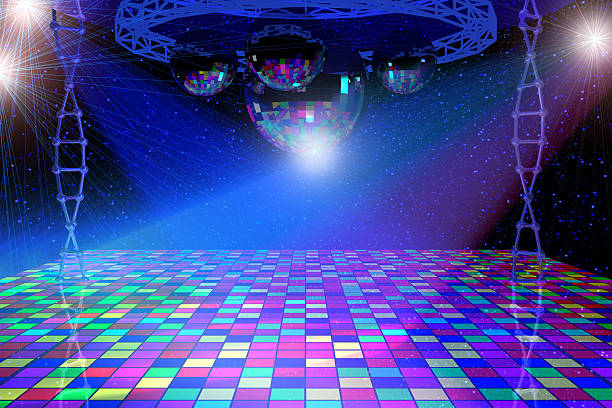 disco lights background - nightclub stock photos and pictures