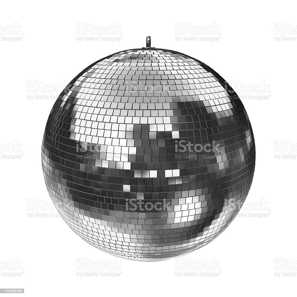 Disco Mirrorball, big, isolated on white stock photo