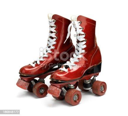 Glamorous roller skates in glittery red.